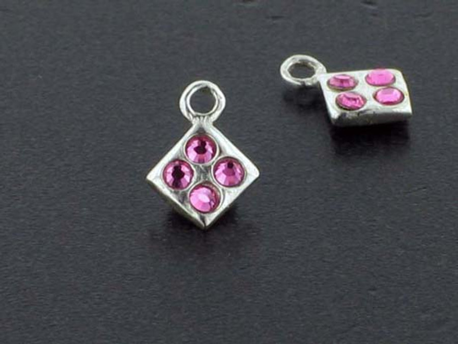 Diamond Sterling Silver Charm With Faceted Rose Austrian Crystal - Pkg Of 10 (Closeout)