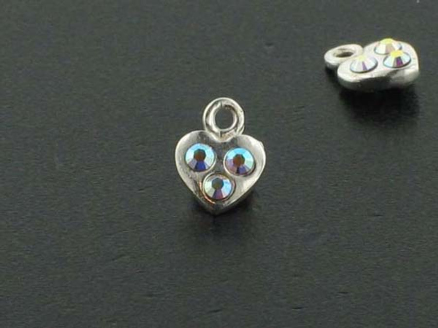 Heart Sterling Silver Charm With Faceted Austrian Crystal - Pkg Of 10 (Closeout)