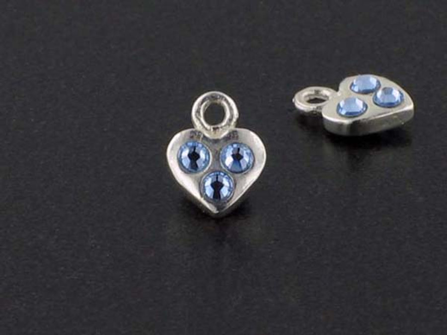Heart Sterling Silver Charm With Faceted Light Sapphire Austrian Crystal - Pkg Of 10 (Closeout)
