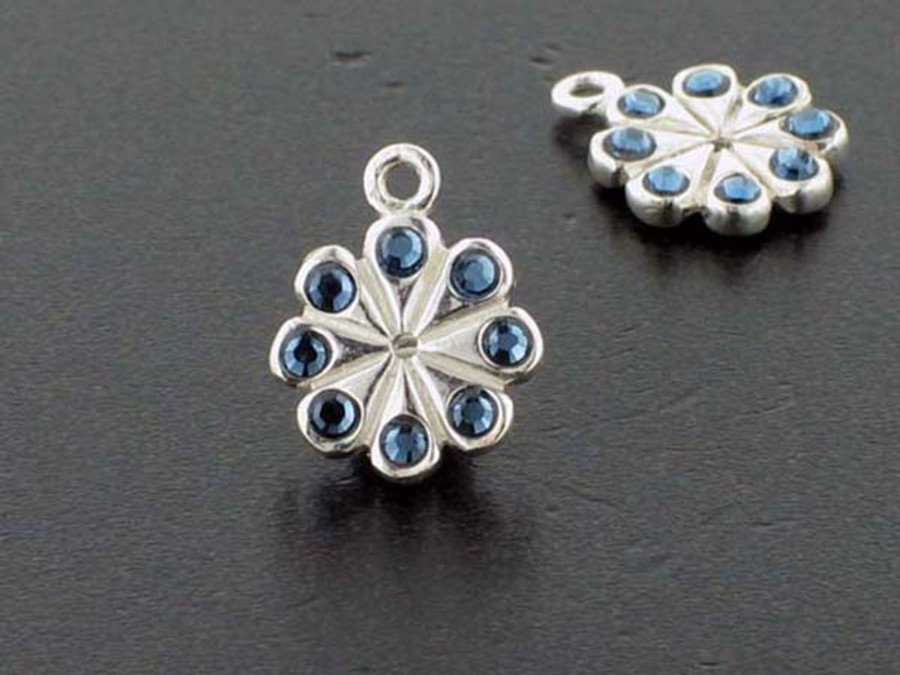 Flower Sterling Silver Charm With Faceted Montana Austrian Crystal - Pkg Of 4 (Closeout)