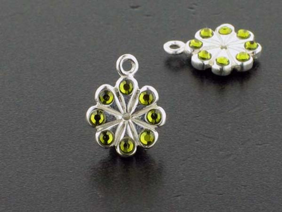 Flower Sterling Silver Charm With Faceted Olivine Austrian Crystal - Pkg Of 4 (Closeout)