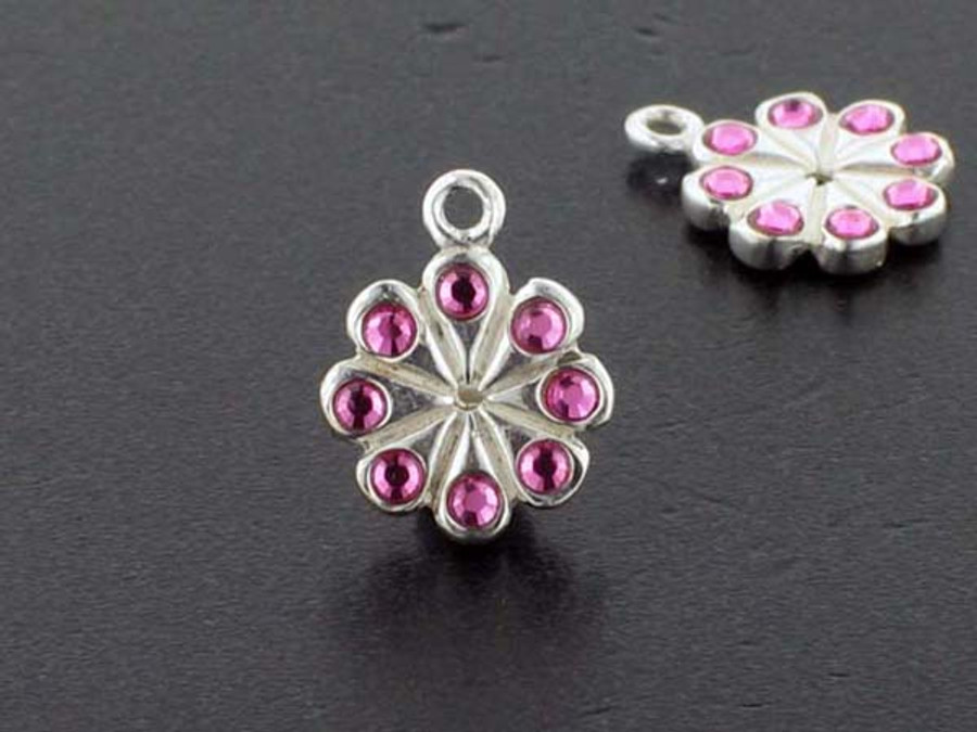 Flower Sterling Silver Charm With Faceted Rose Austrian Crystal - Pkg Of 4 (Closeout)