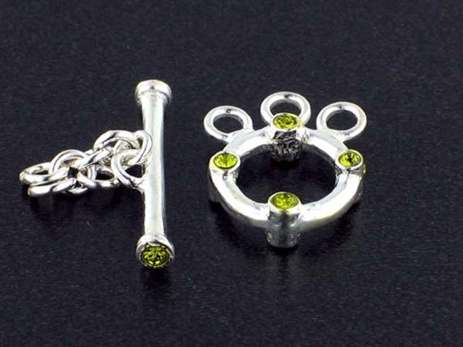 3-Strand Sterling Silver Toggle With Faceted Olivine Austrian Crystal - Pkg Of 3 (Closeout)