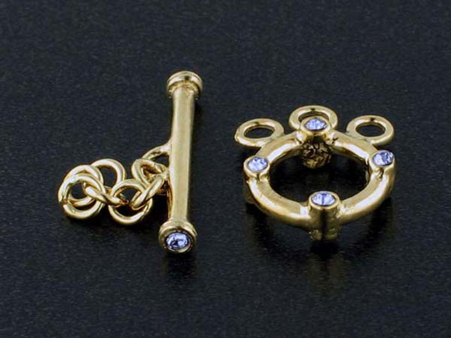 3-Strand 18k Gold-Plated Toggle With Faceted Tanzanite Austrian Crystal - Pkg Of 2 (Closeout)