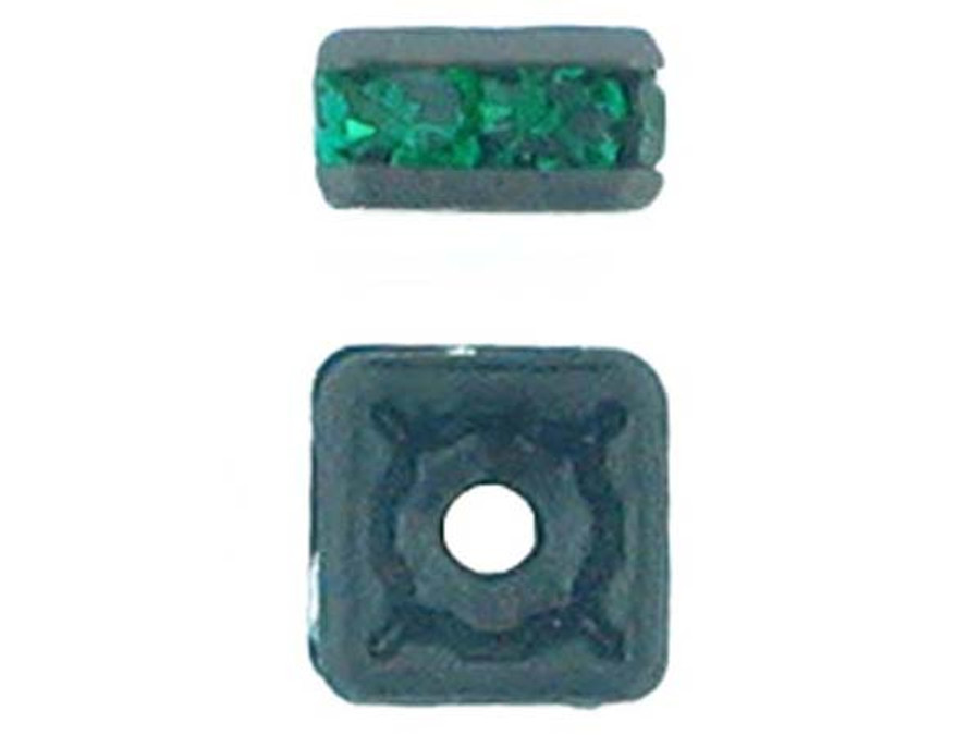 4mm Blackened Finish Emerald Austrian Crystal Squaredelles - Pkg Of 15 (Closeout)