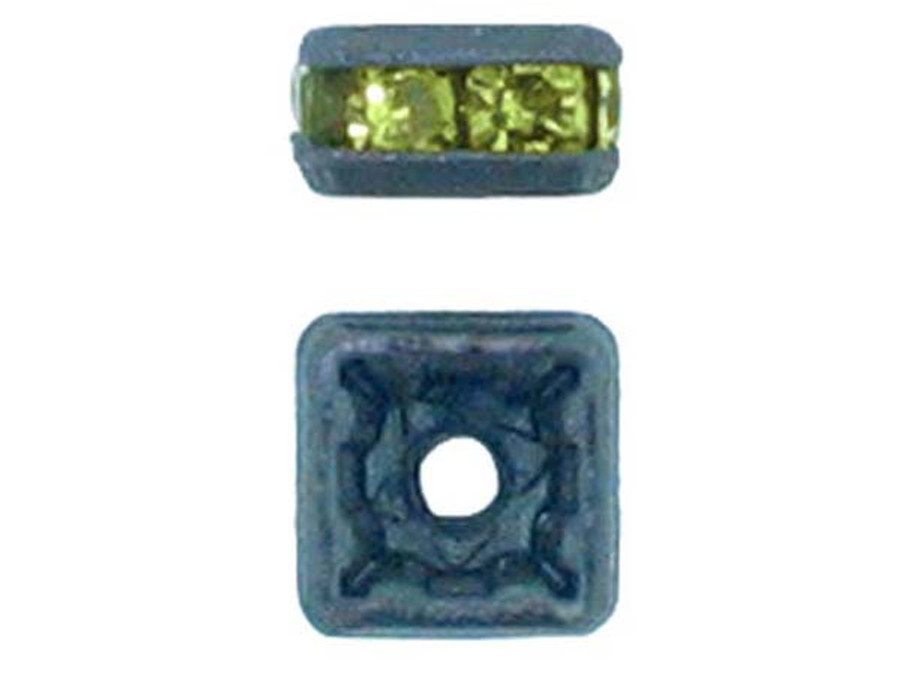 4mm Blackened Finish Olivine Austrian Crystal Squaredelles - Pkg Of 15 (Closeout)
