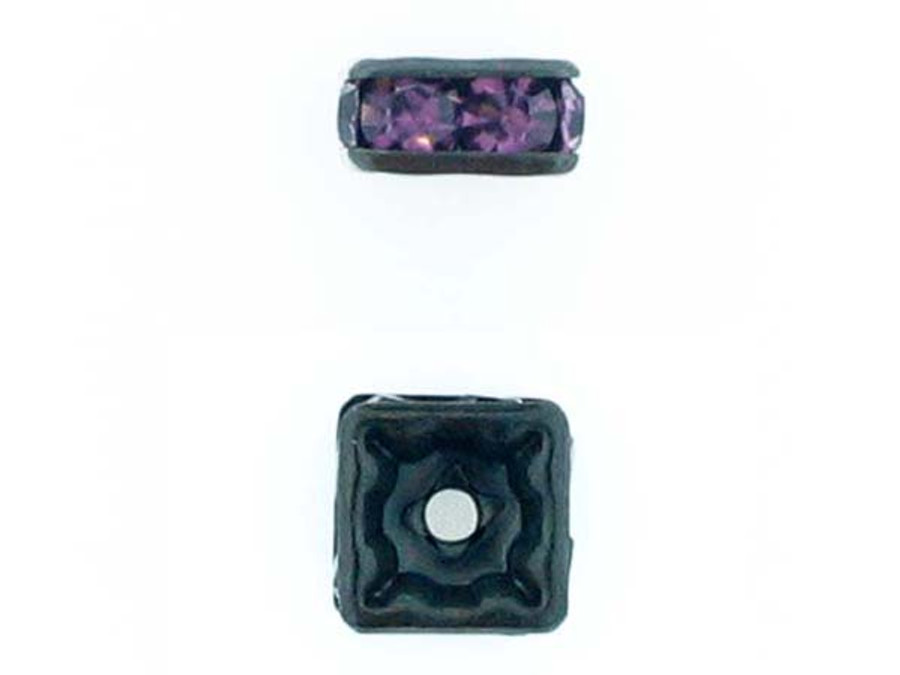 6mm Blackened Finish Amethyst Austrian Crystal Squaredelles - Pkg Of 15 (Closeout)