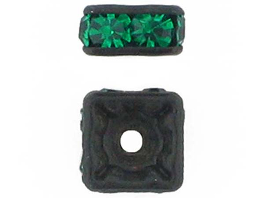 6mm Blackened Finish Emerald Austrian Crystal Squaredelles - Pkg Of 15 (Closeout)