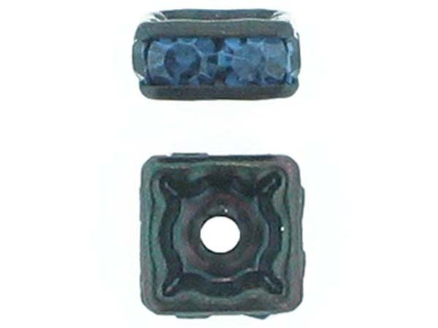 6mm Blackened Finish Montana Austrian Crystal Squaredelles - Pkg Of 15 (Closeout)