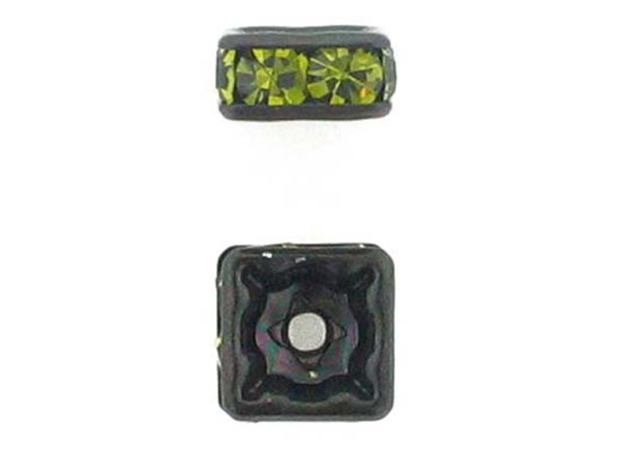 6mm Blackened Finish Olivine Austrian Crystal Squaredelles - Pkg Of 15 (Closeout)