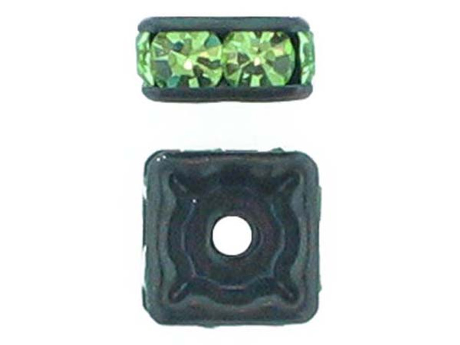 6mm Blackened Finish Peridot Austrian Crystal Squaredelles - Pkg Of 15 (Closeout)