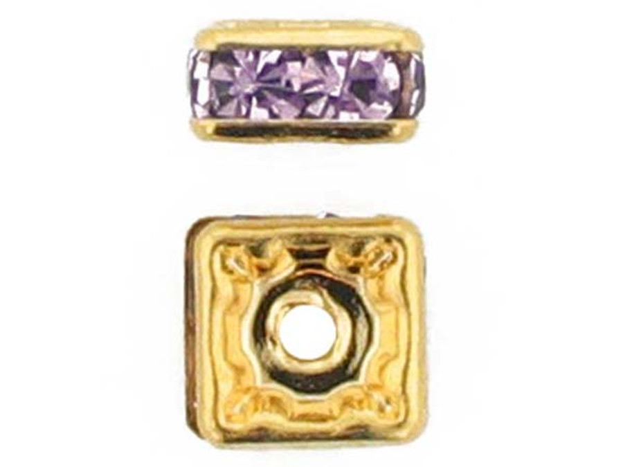 6mm Gold Plated Finish Light Amethyst Austrian Crystal Squaredelles - Pkg Of 15 (Closeout)