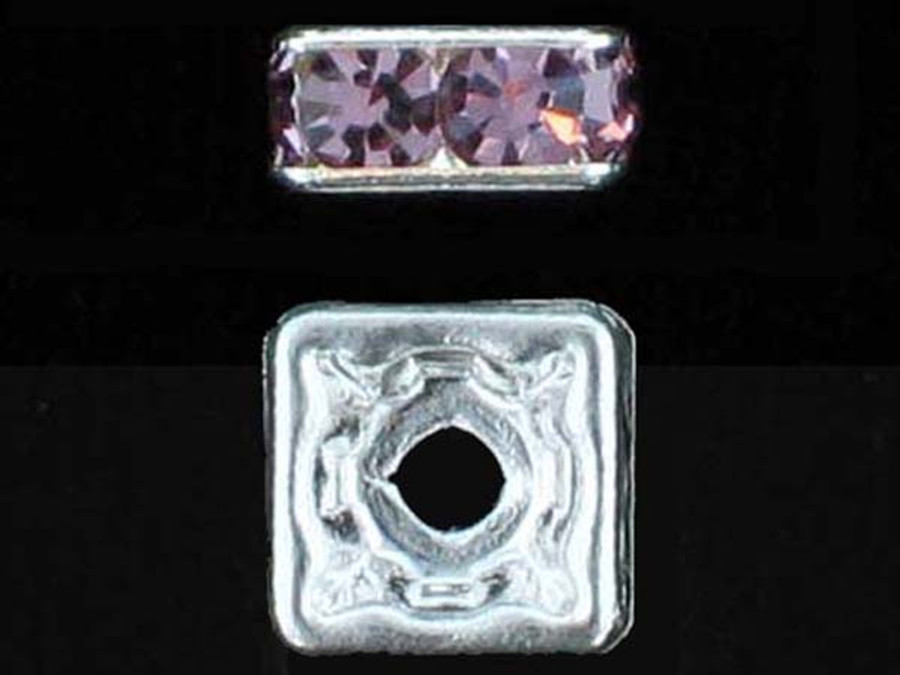 6mm Silver Plated Finish Light Amethyst Austrian Crystal Squaredelles - Pkg Of 15 (Closeout)