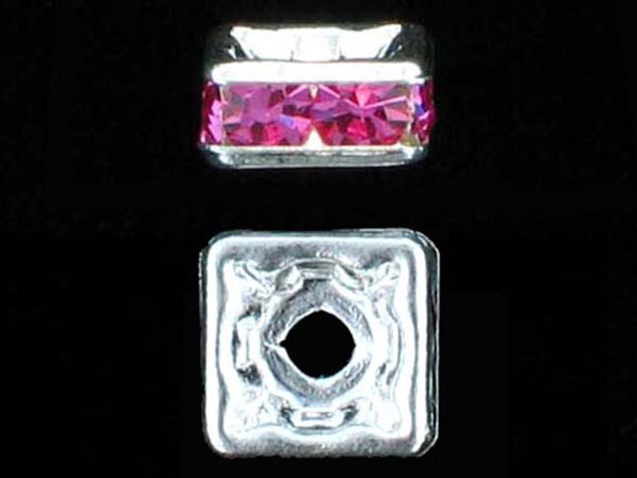 6mm Silver Plated Finish Rose Austrian Crystal Squaredelles - Pkg Of 15 (Closeout)