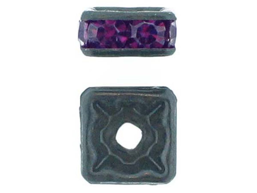 8mm Blackened Finish Amethyst Austrian Crystal Squaredelles - Pkg Of 12 (Closeout)