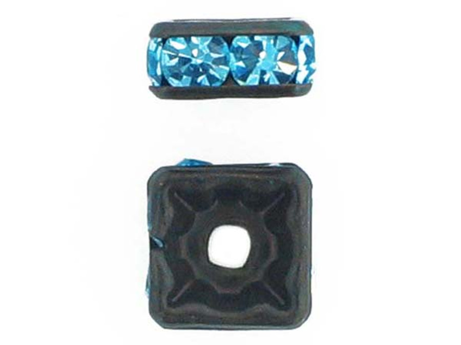 8mm Blackened Finish Aqua Austrian Crystal Squaredelles - Pkg Of 12 (Closeout)