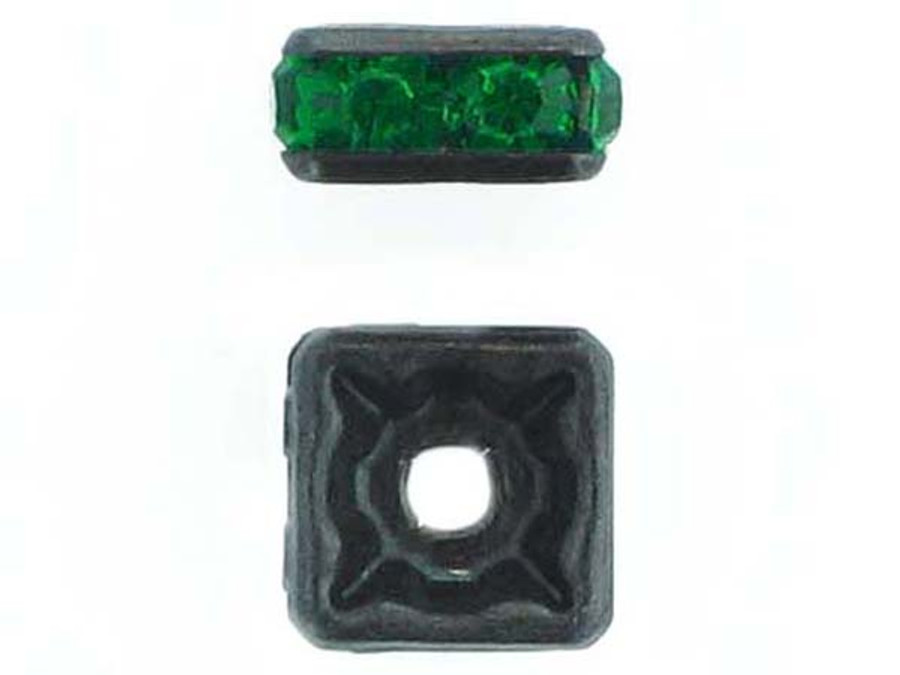 8mm Blackened Finish Emerald Austrian Crystal Squaredelles - Pkg Of 12 (Closeout)