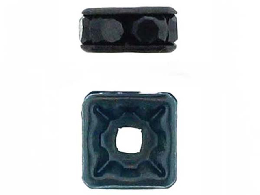 8mm Blackened Finish Jet Austrian Crystal Squaredelles - Pkg Of 12 (Closeout)