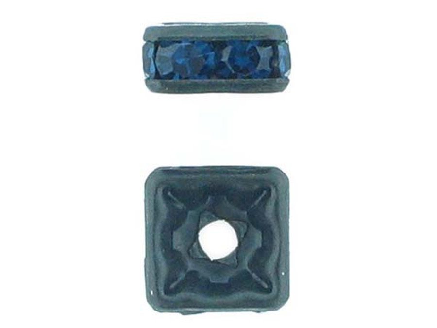 8mm Blackened Finish Montana Austrian Crystal Squaredelles - Pkg Of 12 (Closeout)