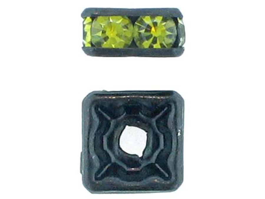 8mm Blackened Finish Olivine Austrian Crystal Squaredelles - Pkg Of 12 (Closeout)