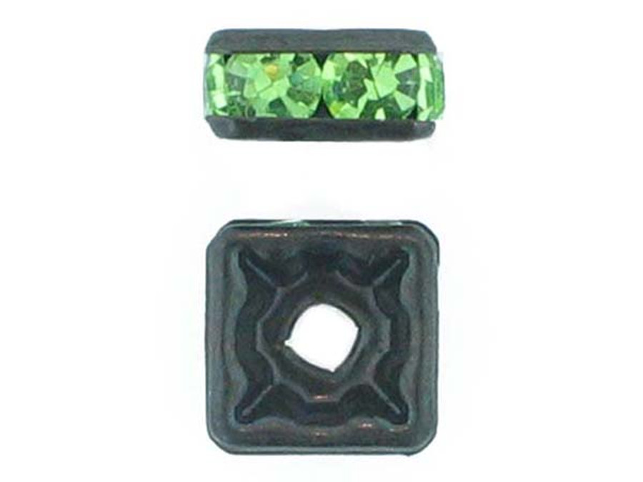 8mm Blackened Finish Peridot Austrian Crystal Squaredelles - Pkg Of 12 (Closeout)