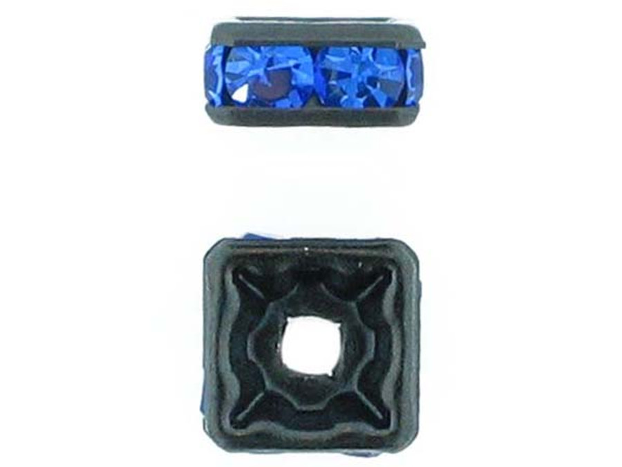 8mm Blackened Finish Sapphire Austrian Crystal Squaredelles - Pkg Of 12 (Closeout)