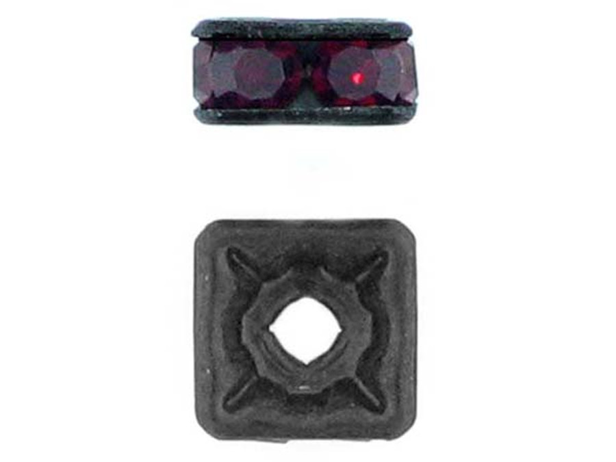 8mm Blackened Finish Siam Ruby Austrian Crystal Squaredelles - Pkg Of 12 (Closeout)