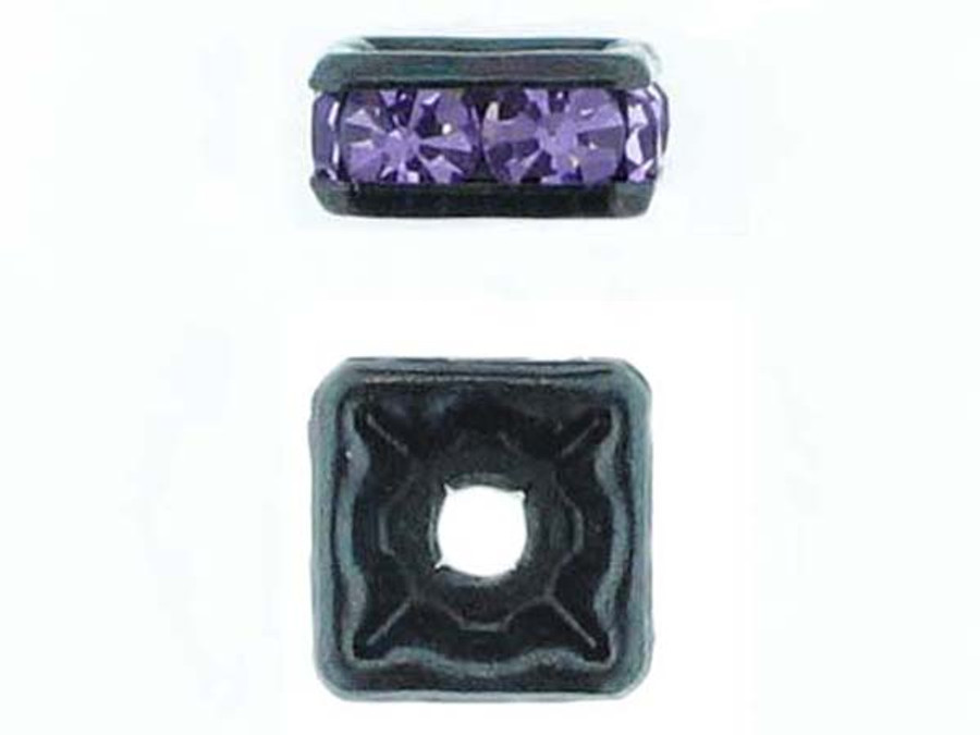 8mm Blackened Finish Tanzanite Austrian Crystal Squaredelles - Pkg Of 12 (Closeout)