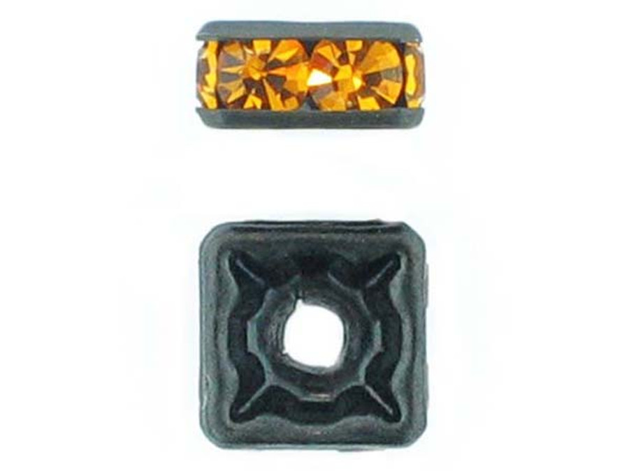8mm Blackened Finish Topaz Austrian Crystal Squaredelles - Pkg Of 12 (Closeout)