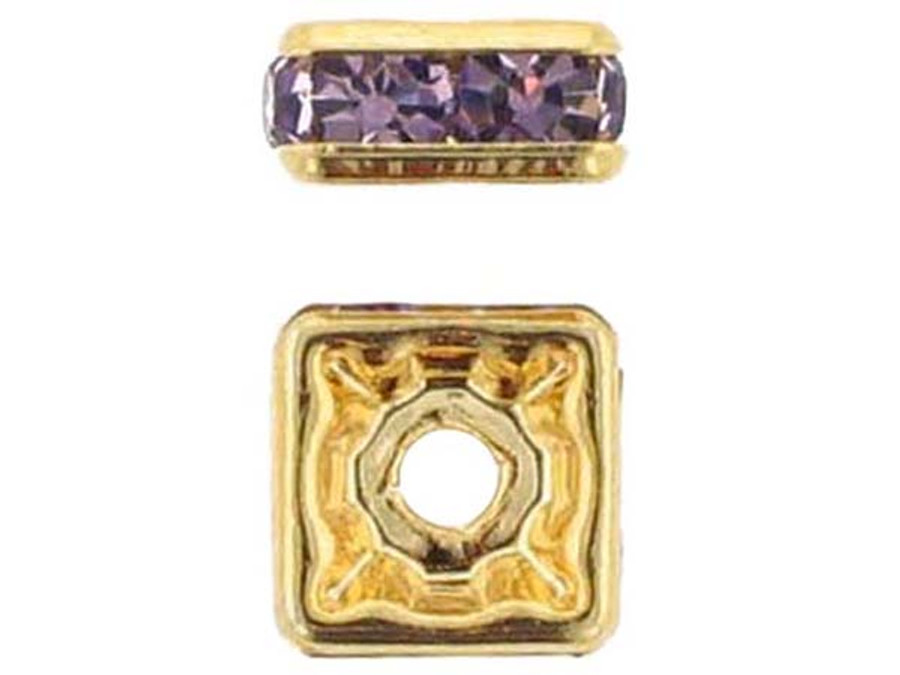 8mm Gold Plated Finish Light Amethyst Austrian Crystal Squaredelles - Pkg Of 12 (Closeout)