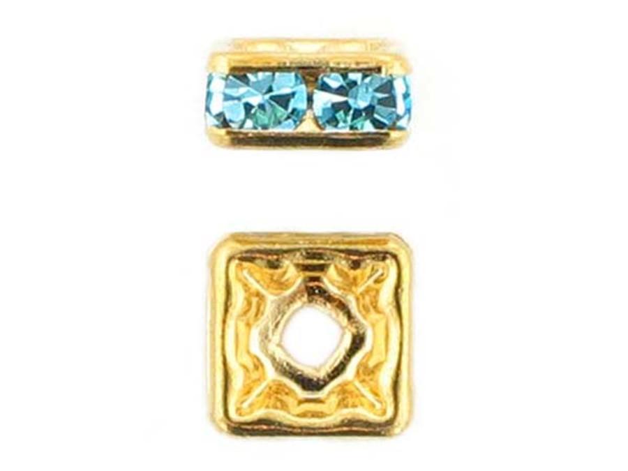8mm Gold Plated Finish Aqua Austrian Crystal Squaredelles - Pkg Of 12 (Closeout)