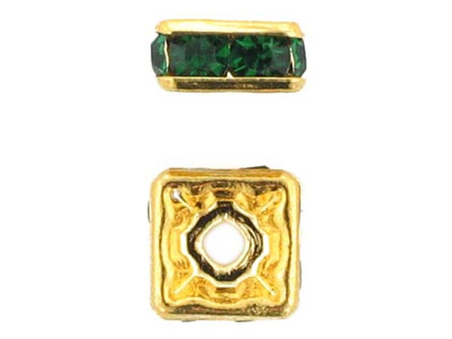8mm Gold Plated Finish Emerald Austrian Crystal Squaredelles - Pkg Of 12 (Closeout)