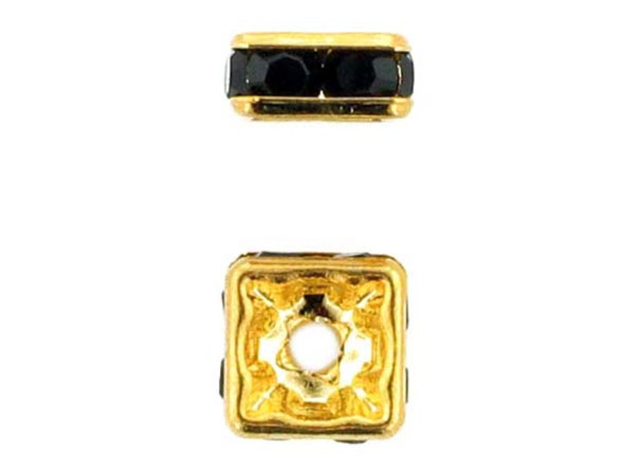 8mm Gold Plated Finish Jet Austrian Crystal Squaredelles - Pkg Of 12 (Closeout)