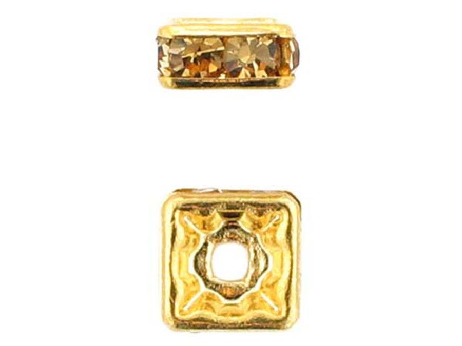 8mm Gold Plated Finish Light Colorado Topaz Austrian Crystal Squaredelles - Pkg Of 12 (Closeout)