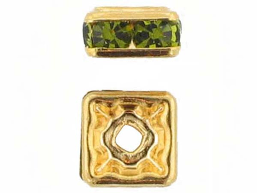 8mm Gold Plated Finish Olivine Austrian Crystal Squaredelles - Pkg Of 12 (Closeout)
