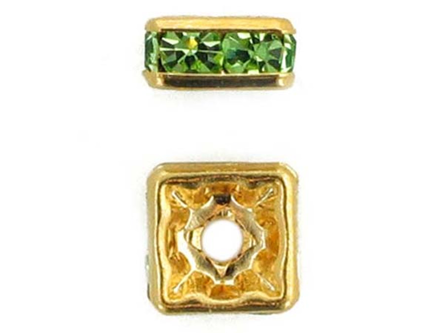 8mm Gold Plated Finish Peridot Austrian Crystal Squaredelles - Pkg Of 12 (Closeout)