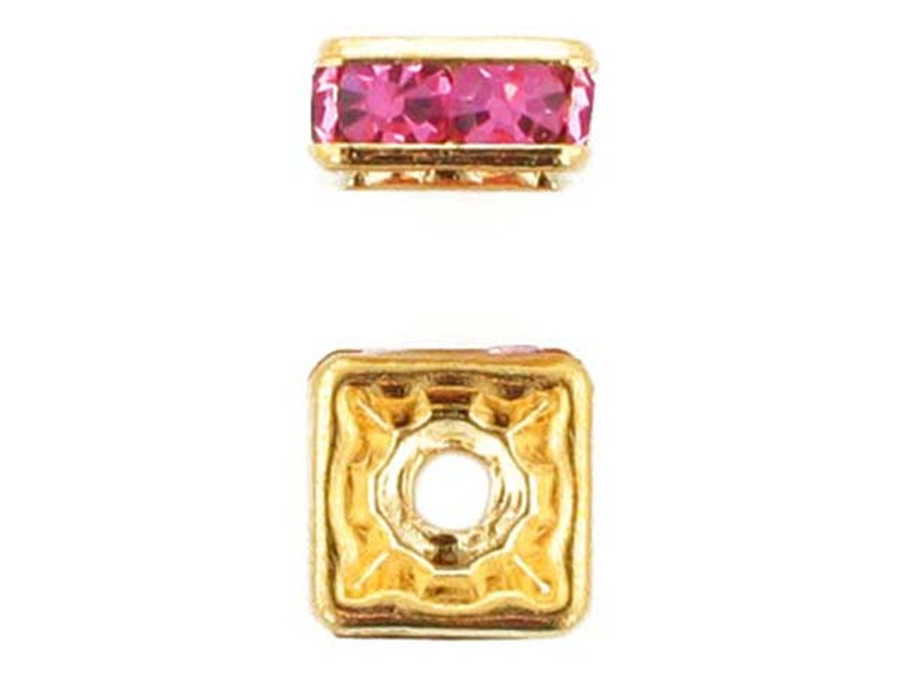 8mm Gold Plated Finish Rose Austrian Crystal Squaredelles - Pkg Of 12 (Closeout)