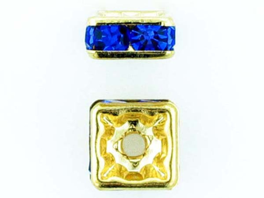 8mm Gold Plated Finish Sapphire Austrian Crystal Squaredelles - Pkg Of 12 (Closeout)