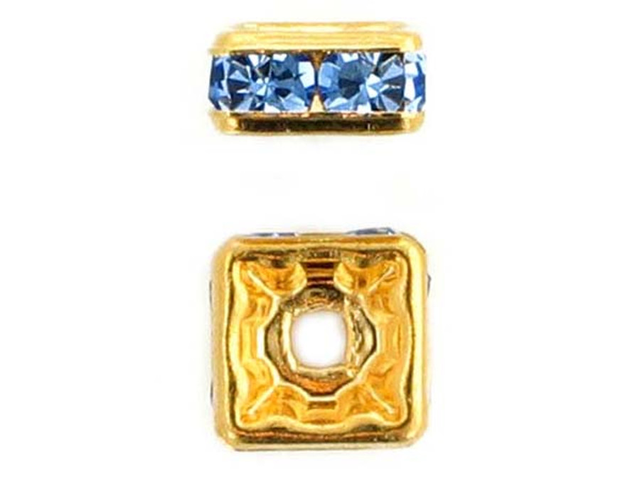 8mm Gold Plated Finish Light Sapphire Austrian Crystal Squaredelles - Pkg Of 12 (Closeout)