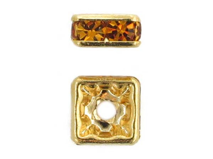 8mm Gold Plated Finish Topaz Austrian Crystal Squaredelles - Pkg Of 12 (Closeout)