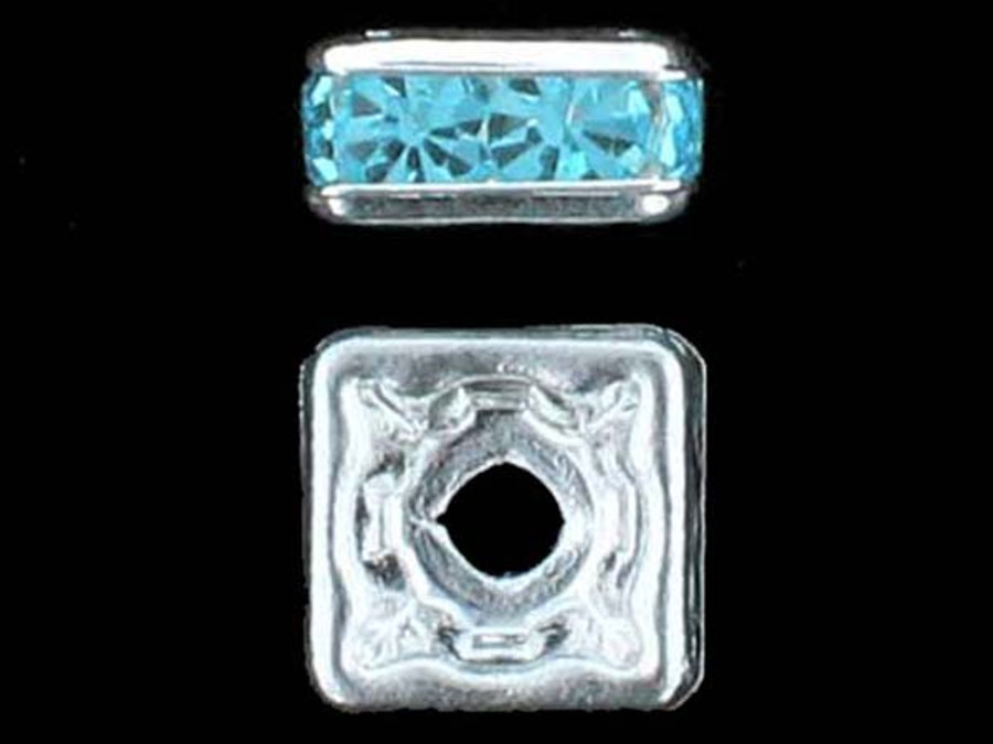 8mm Silver Plated Finish Aqua Austrian Crystal Squaredelles - Pkg Of 12 (Closeout)
