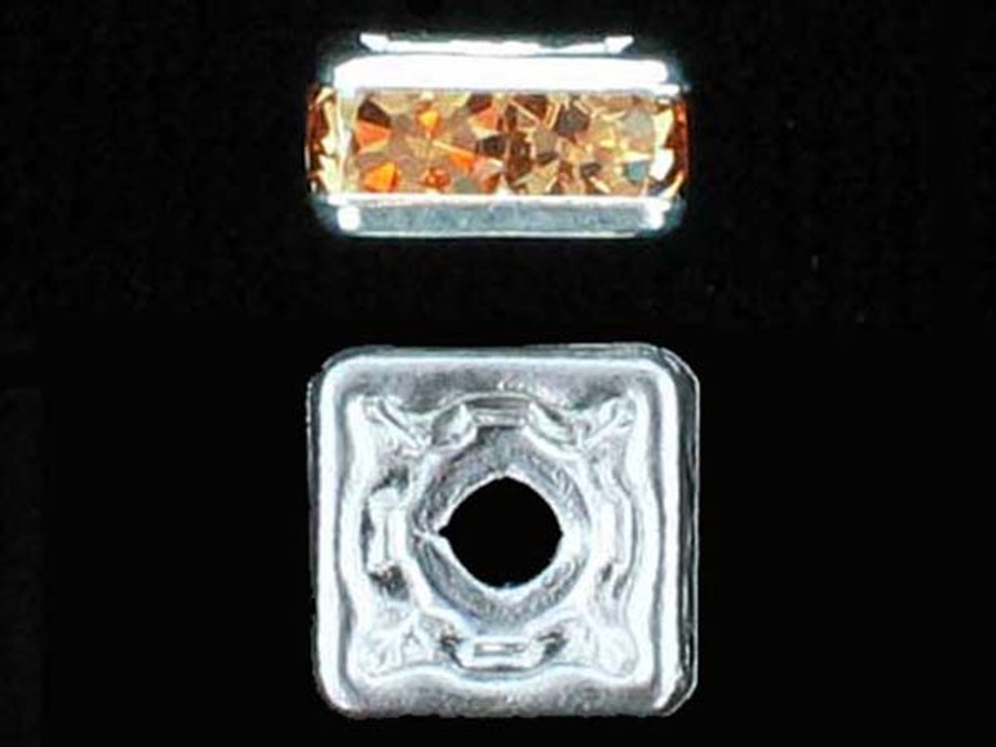 8mm Silver Plated Finish Light Colorado Topaz Austrian Crystal Squaredelles - Pkg Of 12 (Closeout)