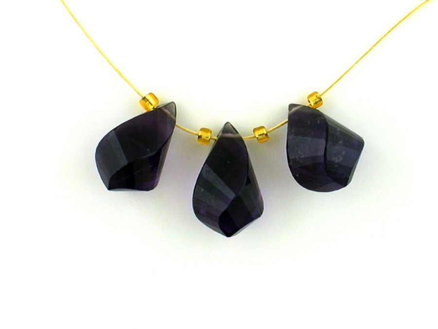 3 Count Varied Sizes Dark Amethyst Faceted Twist Drops 1 Of A Kind (Sale)