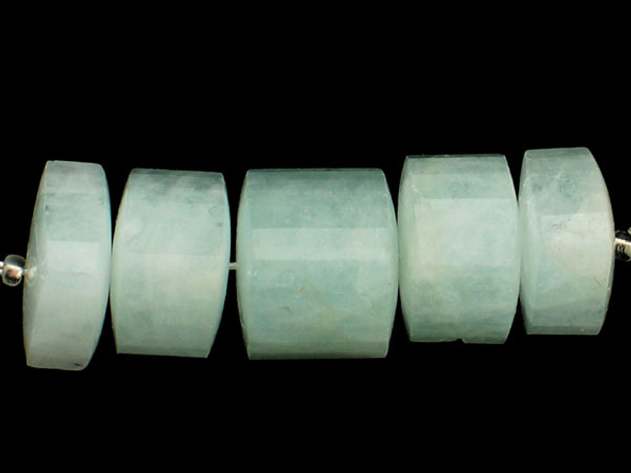 5 Count Varied Size Blue Aquamarine Faceted Triangular Cylinders (Sale)