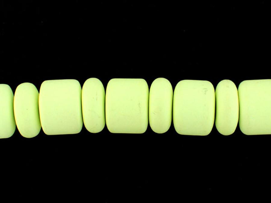 30 Count 22mm Lemon Chrysoprase Polished Barrel/Rondelle (Sale)