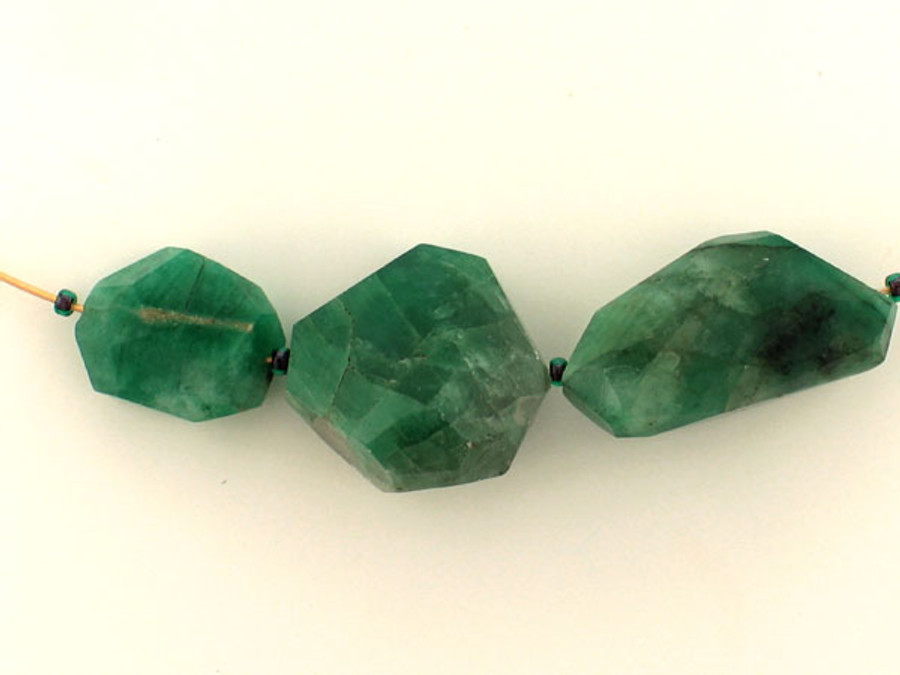 3 Count Varied Size Green Emerald  Simple Cut Nuggets (Sale)