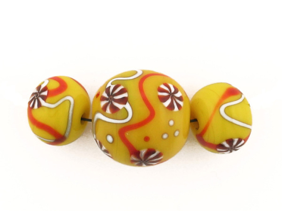3 Count Two Size Yellow Eric Seydeaux's Glass Smooth Round Beads '1 Of A Kind Set' (Sale)
