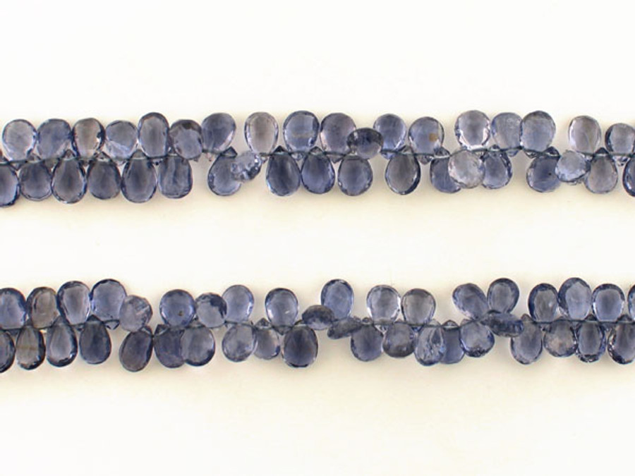 162 Count Graduated Violet Blue Iolite Long Faceted Pears (Sale)