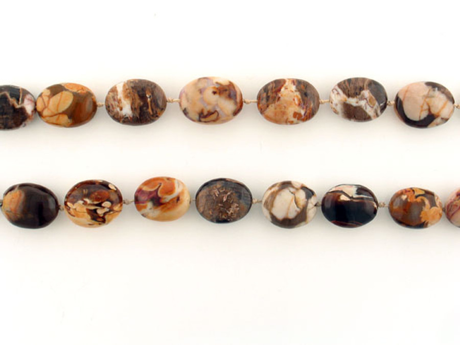 20 Count Varied Size Brown Fossil Peanut Wood Smooth Ovals (Sale)