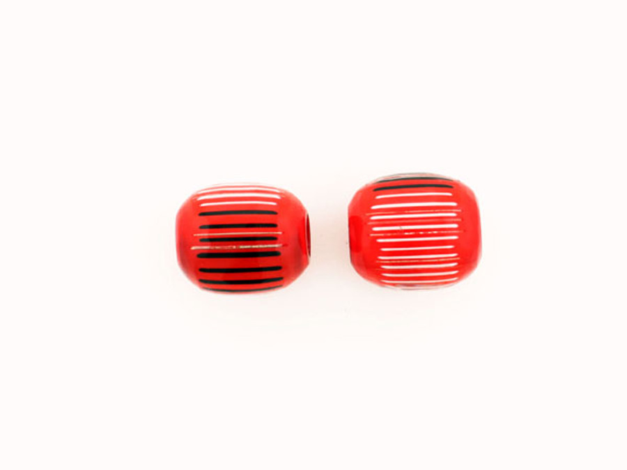 1 Count 20mm Luigi Cattelan's White / Red Italian Glass Focal Bead (Sale)